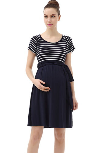 Momo Maternity Scoop Neck Striped Belted Tie Dress