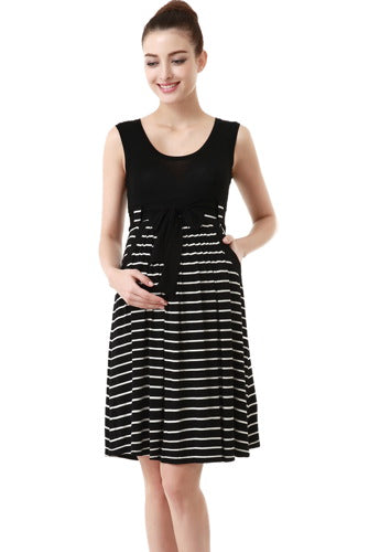 Momo Maternity Scoop Neck Striped Dress