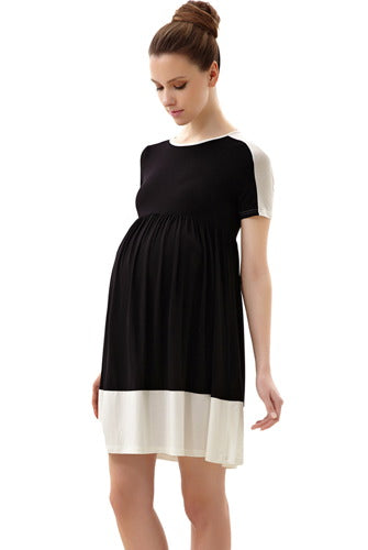 Momo Maternity Colorblock Skater Dress