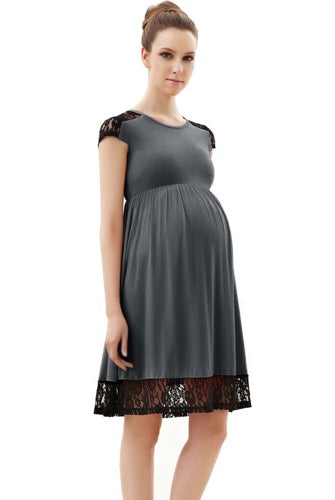 Momo Maternity Lace Insert Skater Dress