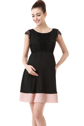 Momo Maternity Lace Trimmed Colorblock Dress