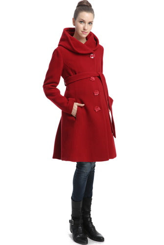 "Momo Maternity ""Lauren"" Wool Blend Belted Coat with Hood"