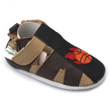 Momo Baby Boys Soft Sole Leather Crib Sandal Shoes - Basketball
