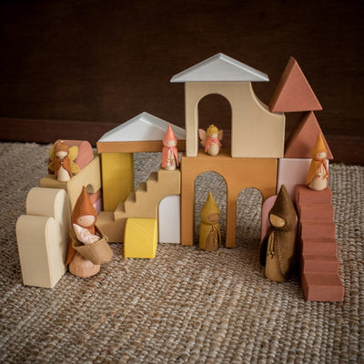 Raduga Grez architecture blocks in play scene with Sweet Elms Outback gnomes wooden dolls