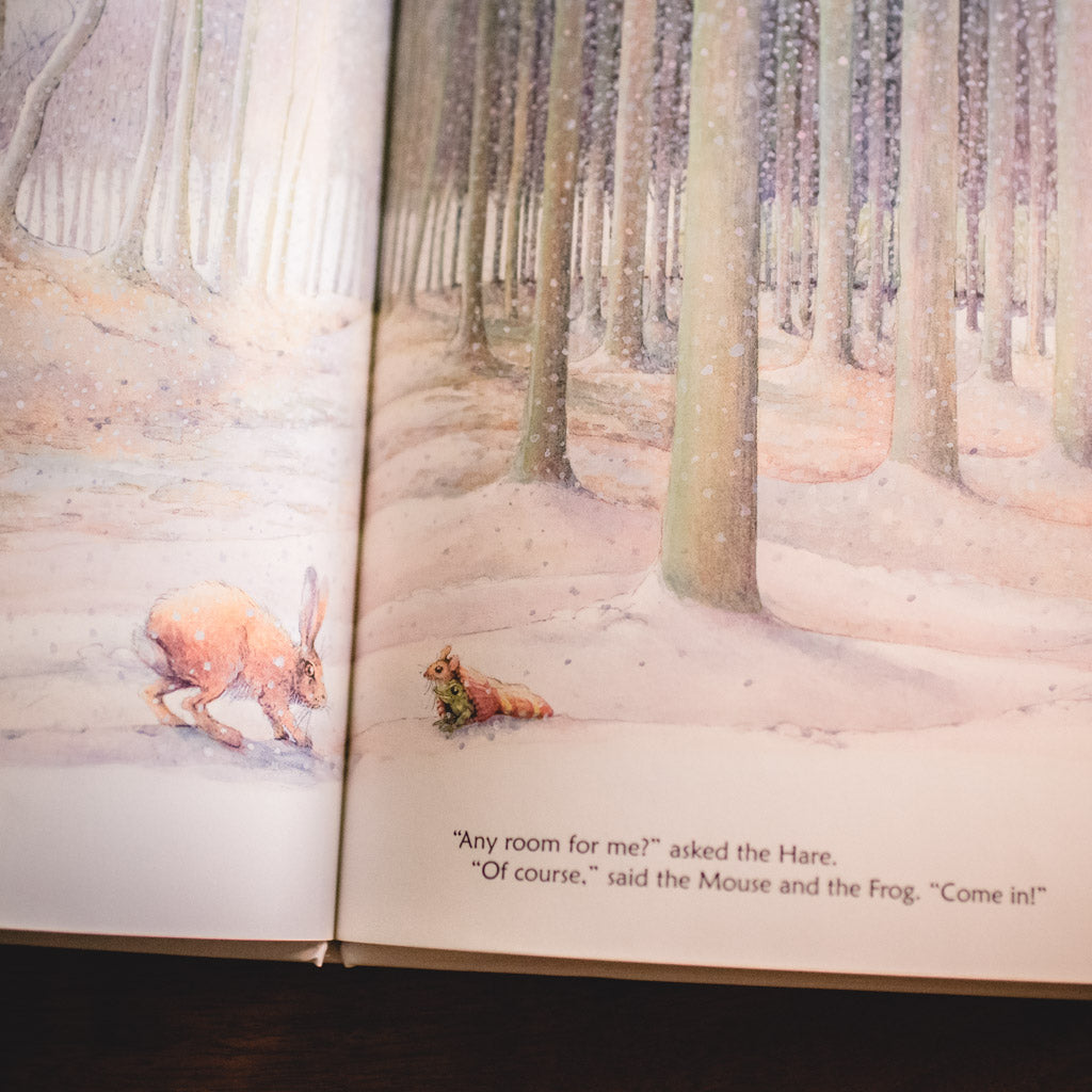 Cover of Any Room for Me book with a fox and hare in a snowy forest.