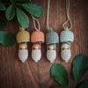 Australian wooden acorn necklaces in colours of the bush with gumnut babies peeping