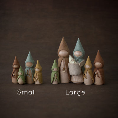 Sweet Elm Australian gnome wooden dolls sets showing large and small variants