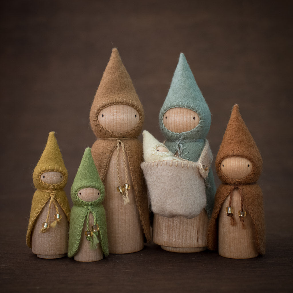 Sweet Elm Australian gnome large wooden dolls set in rust and earth colours