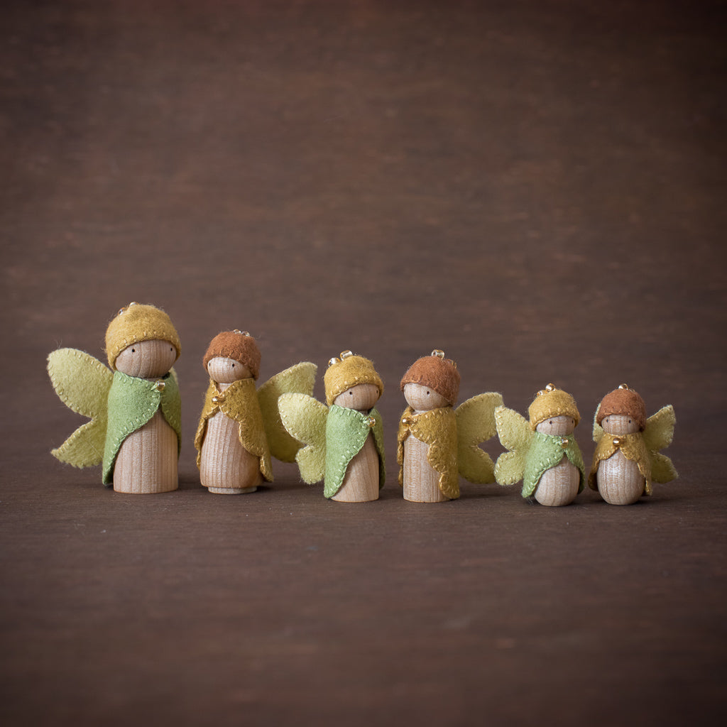 Sweet Elm steiner Waldorf wooden fairy dolls in colours of the Australian bush