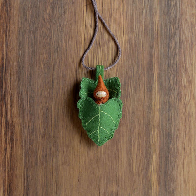 Green Elm Leaf Necklace - Gnome colour of your choice