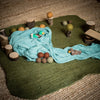 holztiger wooden drake duck toy swimming in blue play cloth pond felt mat