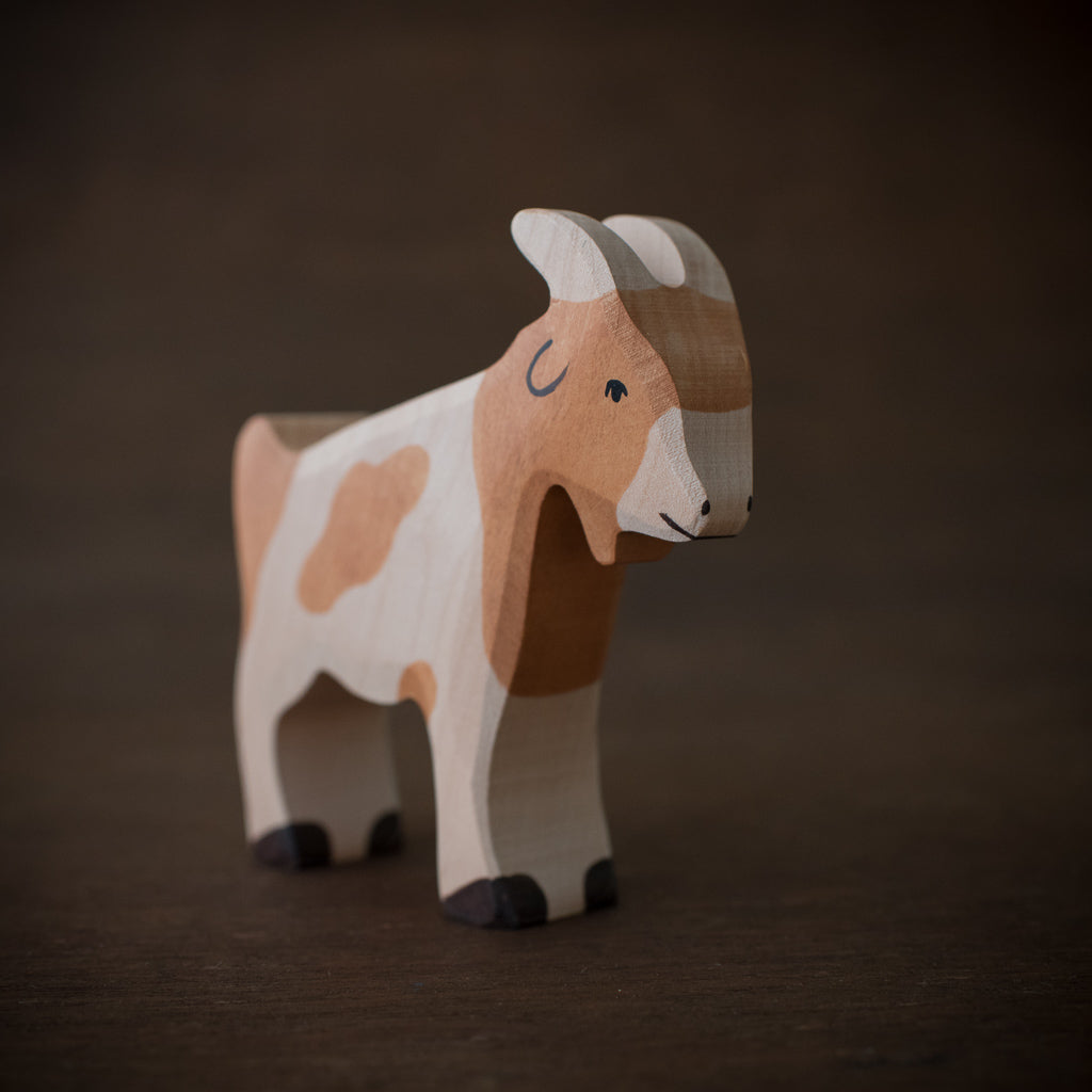 Holztiger wooden billy goat animal toy hand-painted in brown.