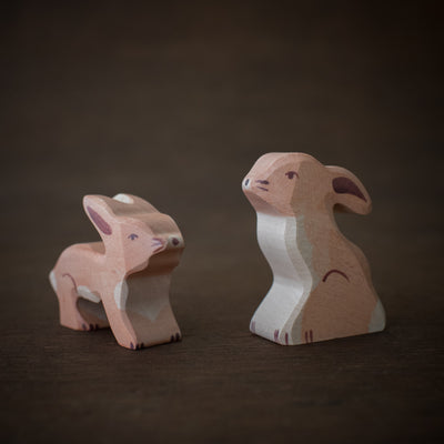 wooden baby rabbit toy animals from Holztiger handmade and sitting together