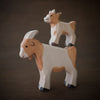 holztiger wooden goat toys billy goat with baby kid on top