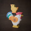 holztiger wooden rooster toy with chick stacked on top