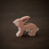 wooden baby hare toy animal from Holztiger handmade and painted brown and white from the side