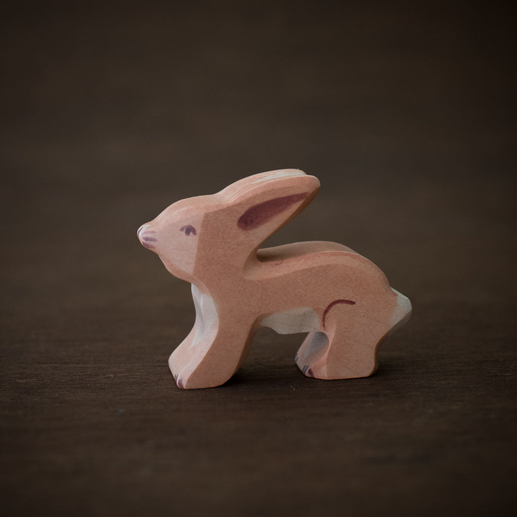 Wooden baby hare toy animal from Holztiger.