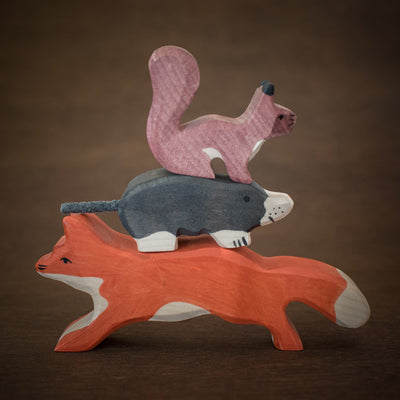 woodland Holztiger animal figures stacked including fox, mole and squirrel