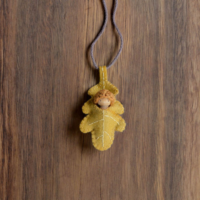 Gold Oak Leaf Necklace - Baby colour of your choice