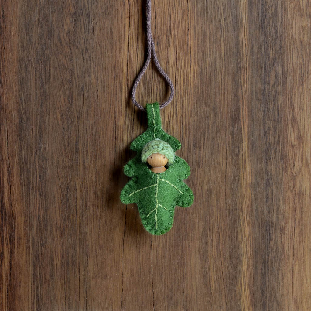 Green Oak Leaf Necklace - Baby colour of your choice