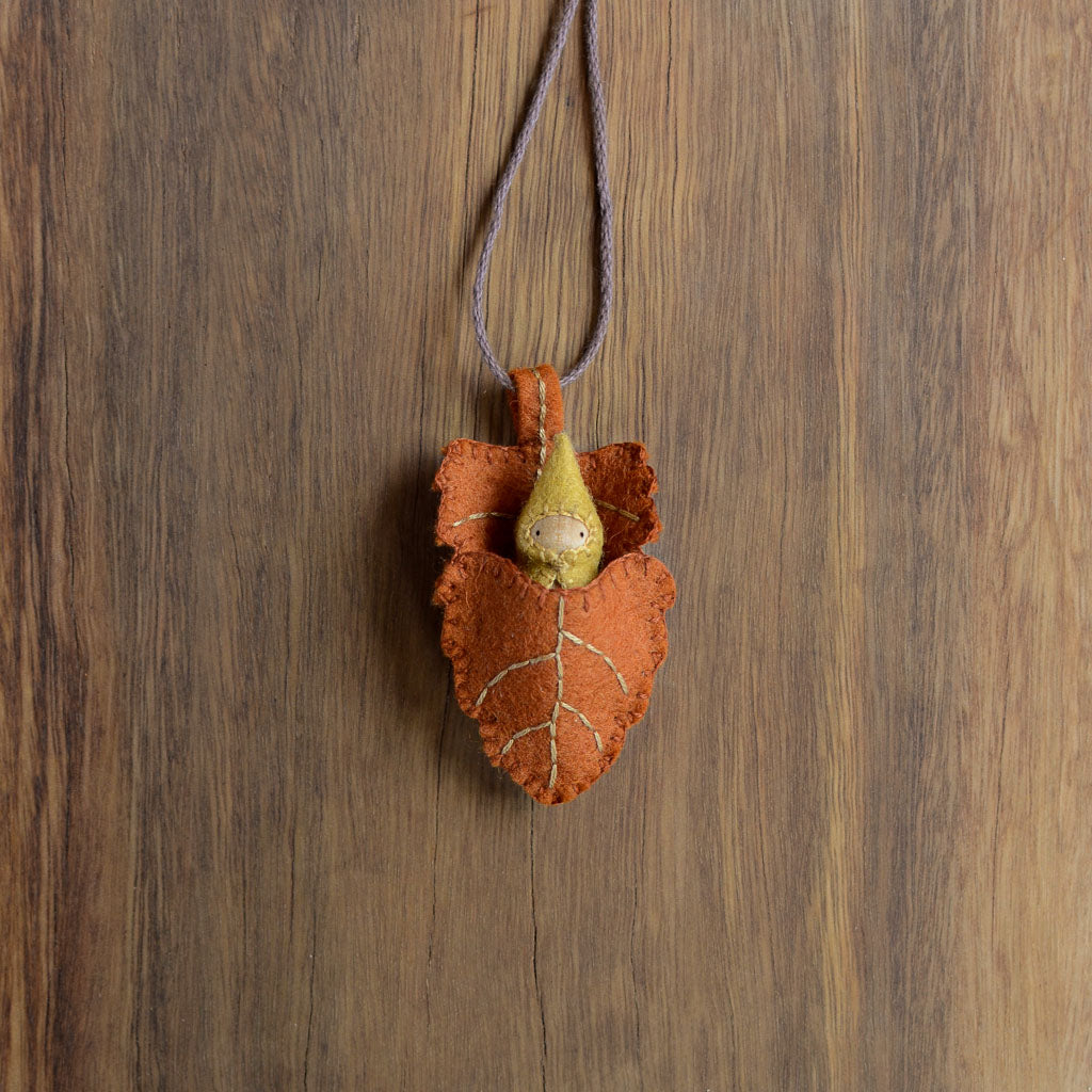 Rust Elm Leaf Necklace - Gnome colour of your choice