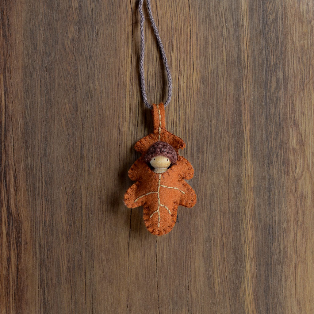 Rust Oak Leaf Necklace - Baby colour of your choice