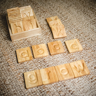 wooden educational letter alphabet with a wooden box