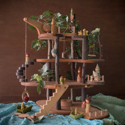 Magic wood tree house with sweet elm dolls and leaves and play cloths