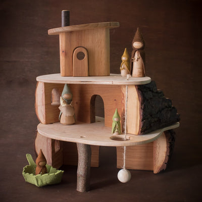magic wood tree house with sweet elm dolls from the back side