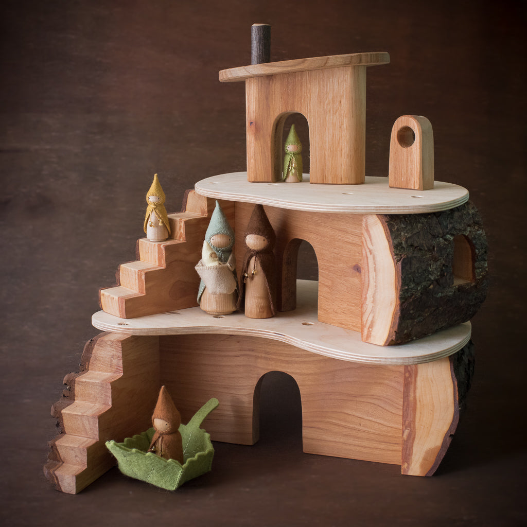 Magic wood tree house with Raduga Grez forest trees and Sweet Elm gnome dolls