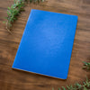 A blue Mercurius main lesson book on a wooden backdrop