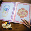 Waldorf Steiner main lesson book showing divisions of a circle with Lyra pencils and Stockmar beeswax crayons