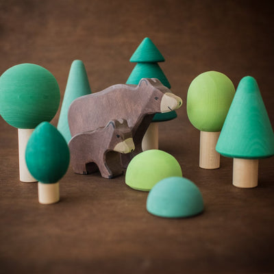 Raduga Grez wooden forest tree set with Holztiger bear animals