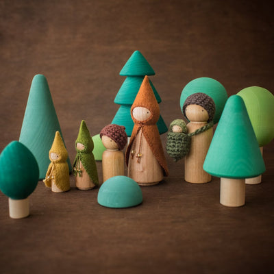 Raduga Grez wooden forest tree set with Sweet Elm forest Wee Folk dolls