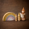 Raduga Grez sand rainbow arch stacker with Sweet Elm doll gnomes