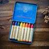 Set of 8 Stockmar beeswax crayons in waldorf colour mix in a blue metal tin