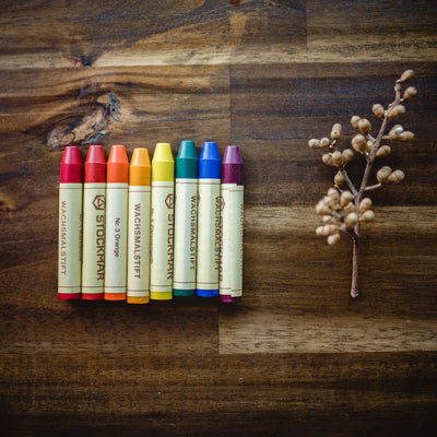 Set of 8 Waldorf colour mix Stockmar beeswax crayons with a twig of seeds in a flat lay