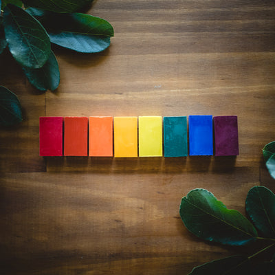 Stockmar beeswax block crayons lined up in rainbow colours