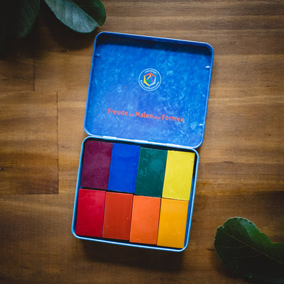 Stockmar beeswax block crayons in a blue metal tin