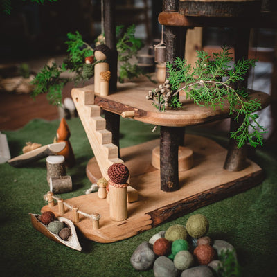 small-world-play-scene-with-sweet-elm-dolls-felt-balls-and-tree-house
