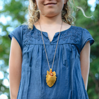 Gold Elm Leaf Necklace - Gnome colour of your choice
