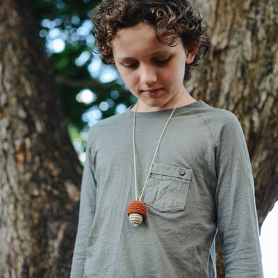 Acorn Baby Necklace - Earthy Rainbow Hues