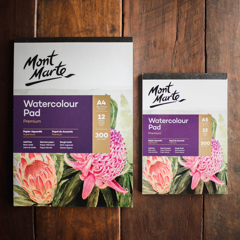 A4 and A5 premium Mont Marte watercolour paper for wet-on-wet painting.