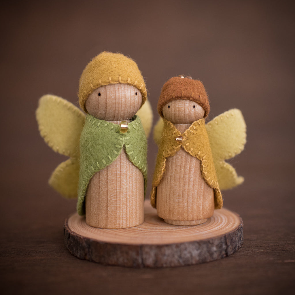Australian fairy doll made from wood and felt in a Steiner style