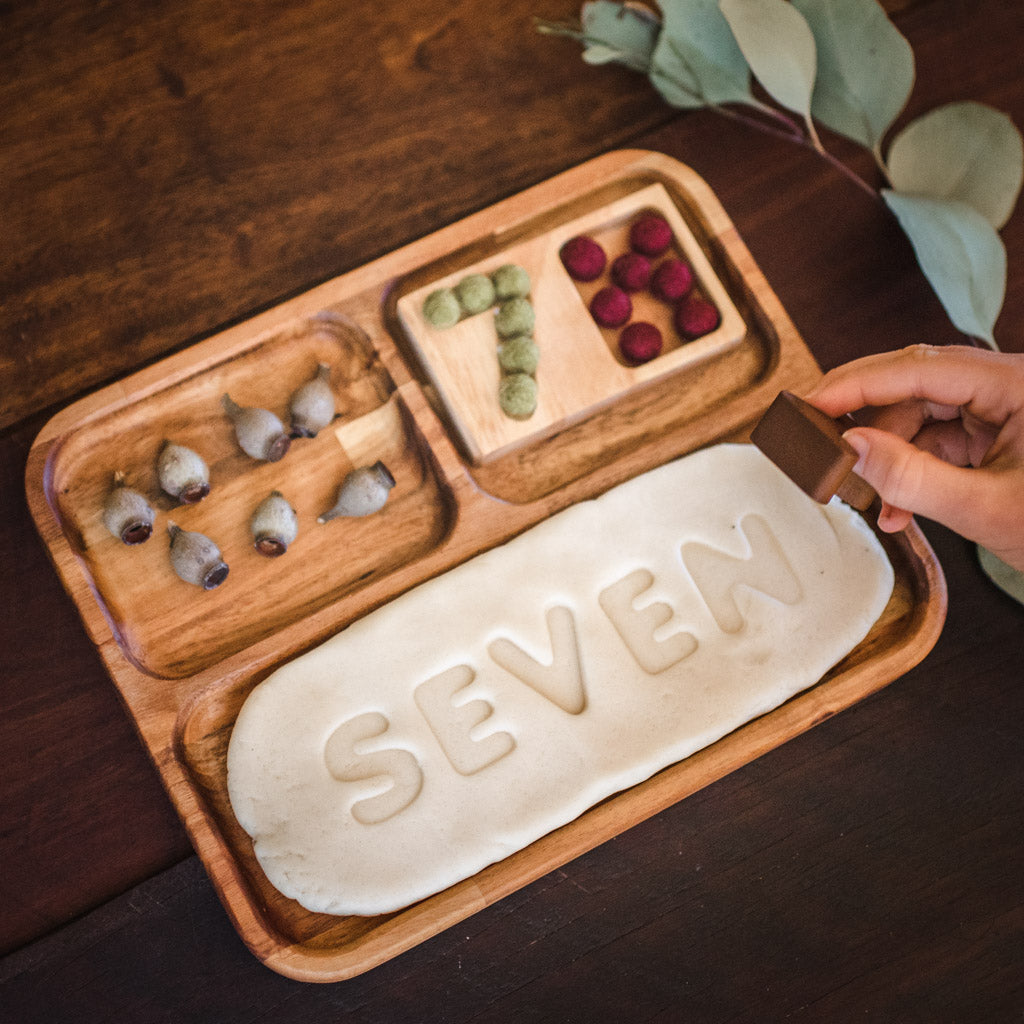 Wooden Sorting and Play Dough Tray