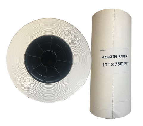 "Poly Coated 12"" Masking Paper, WHITE, 750ft."