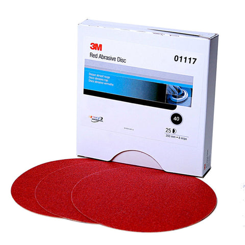 3M™ Red Abrasive Stikit™ Disc, 6 inch, 40 grit, 01117