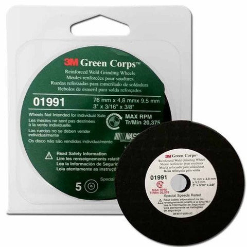 "3M 1991 3M Green Corps 3"" x 3/16"" x 3/8"" Reinforced Weld Grinding Wheels - 5-pack"