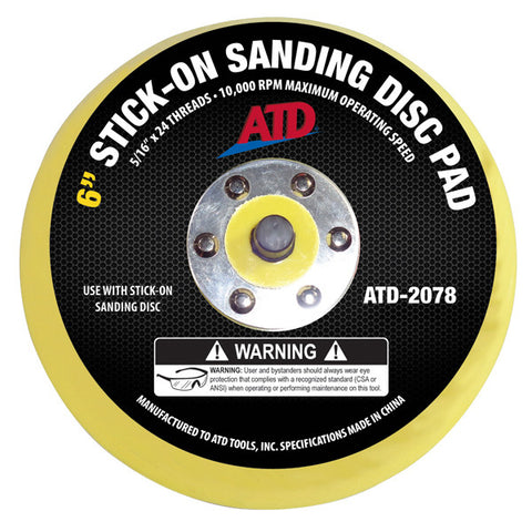 "ATD-2078 6"" Stick-On Sanding Disc Pad"