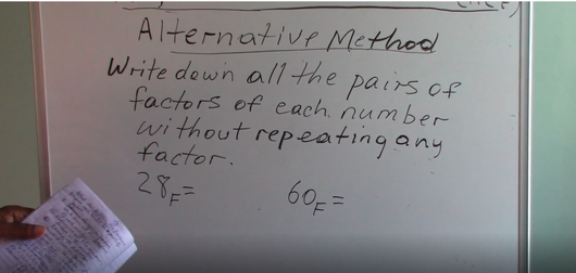 Grade 6 & 7 - Highest Common Factor (Alternative Method)